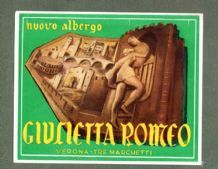 Collectable Hotel luggage label  ITALY Guilietta Romeo Verona    #558